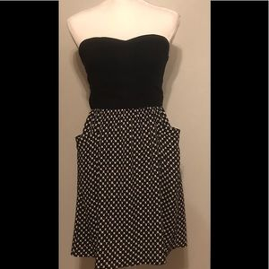Black and White, strapless bustier top midi dress.